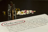 Drugs and paper with text medications — Stock Photo