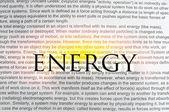 Energia testo dattiloscritto su carta — Foto Stock
