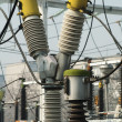 High-voltage wires and transformers — Stockfoto