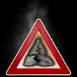 Warning sign fire hazard — Stock Photo