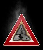 Znak ostrzegawczy zapalić hazard — Zdjęcie stockowe
