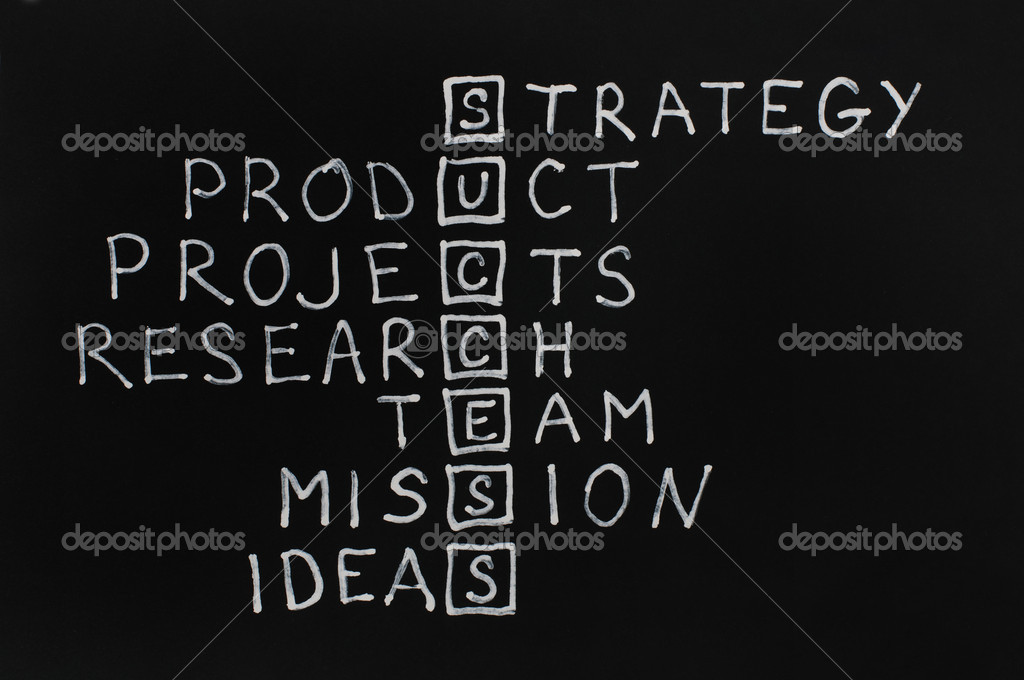 Success text over black. Strategy,team and ideia texts — Stock Photo #8540249