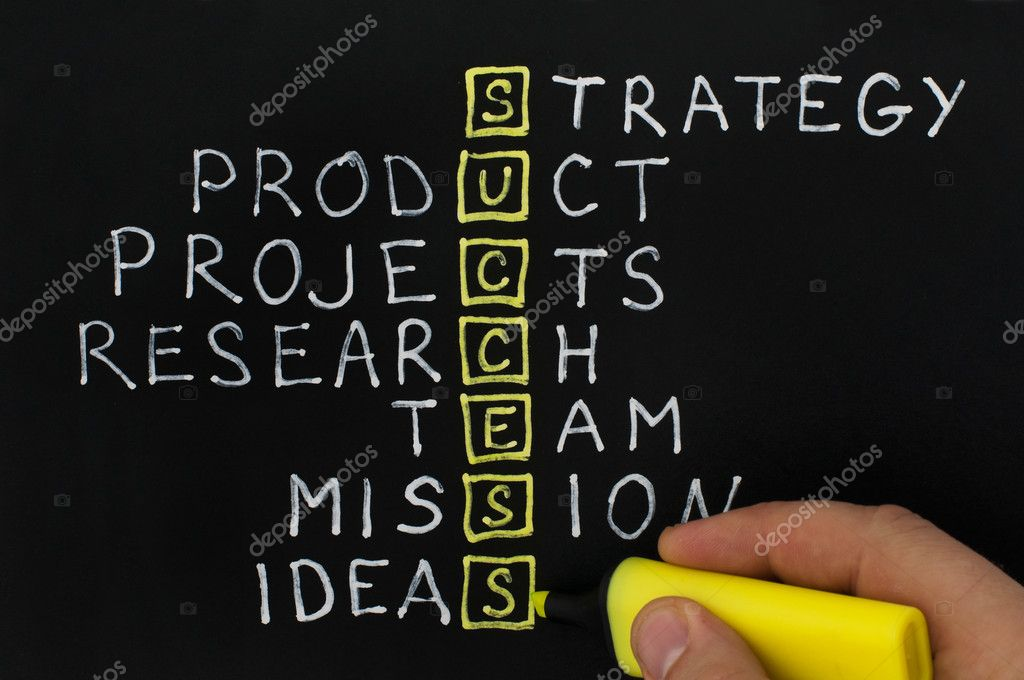 Success text over black. Strategy,team and ideia texts — Stock Photo #8540252