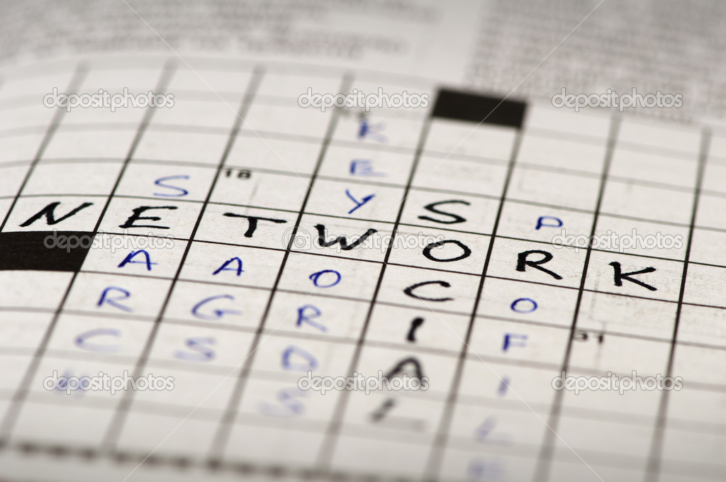 Social network conception text in crossword puzzle — Stockfoto #8540266