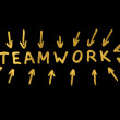 Teamwork text and strokes over black — Stock Photo #8609433
