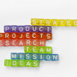 Text success on colorful wooden cubes — Stock Photo