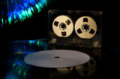 LP vinyl record, cassette tape and disco lights — ストック写真