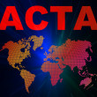 ACTA conception texts and world map — Stock Photo