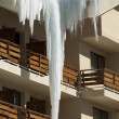Icicles on window — Stock fotografie