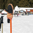 Ski gloves and sticks. Winter tourists on the background — Stock Photo