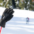 Stock Photo: Ski gloves and sticks. Winter tourists on the background