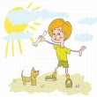 Boy playing a small dog — Stock Vector