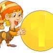 Vector de stock : Gnome and coins