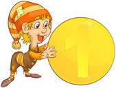 Gnome och mynt — Stockvektor