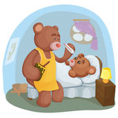 Ziek teddybeer met haar moeder — Stockvector