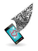 QR code and Smartphone — Stock Vector