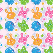 Funny bunny seamless wallpaper — Stock Vector