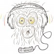 Stock Vector: Monkey listens the music