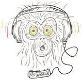 Monkey listens the music — Stock Vector
