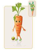 Divertido y realista zanahoria jugando al fútbol — Vector de stock