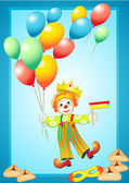 Funny clown with balloons, mask, noise maker and purim cookies — Stock Vector