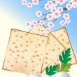 Jewish celebrate pesah  with eggs, matzo and flowers — Image vectorielle