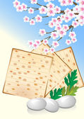 Jewish celebrate pesah with eggs, matzo and flowers — Stock Vector