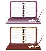 Caderno com caneta isolado — Vetor de Stock