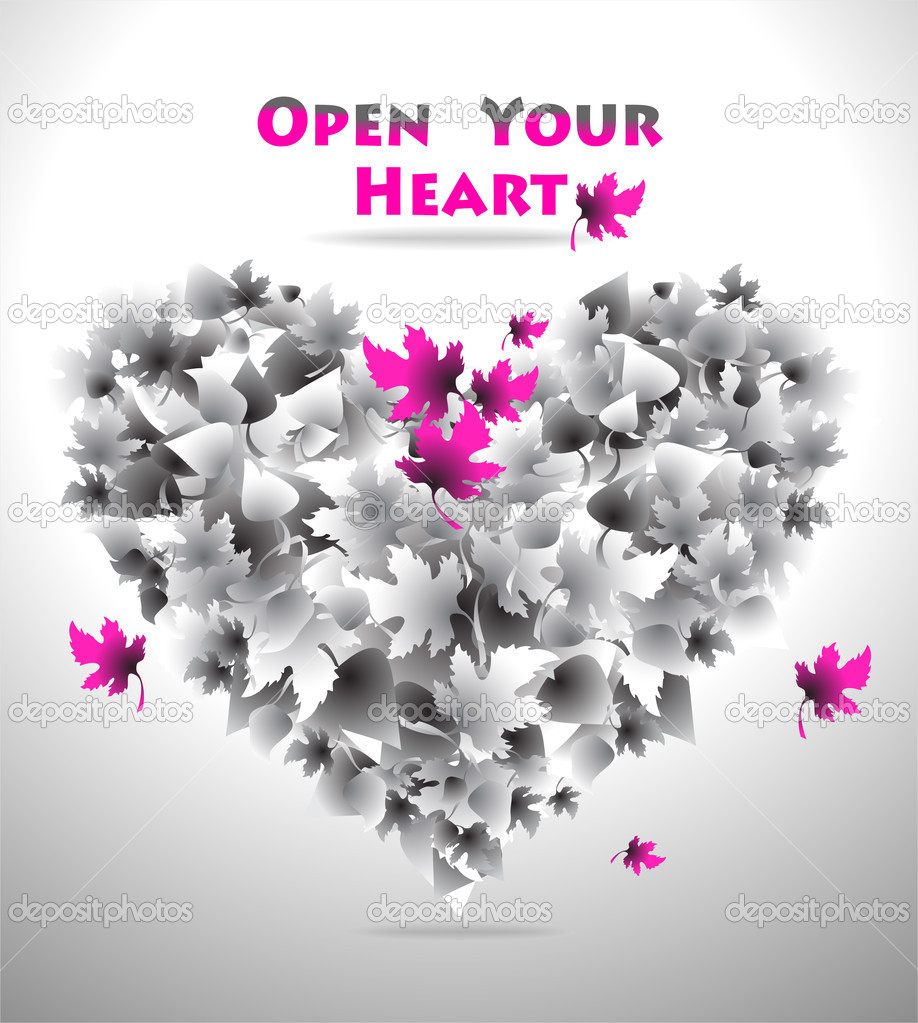 Concept Open Your Heart for love or  for music or  for art or for other things — Stock Vector #10565127
