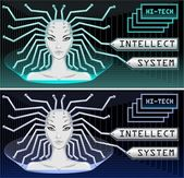 Intellect system and hi tech technology — Stock Vector