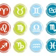 Horoscope zodiac signs, set of icons, vector illustration - Imagen vectorial