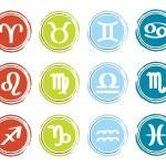 Horoscope zodiac signs, set of icons, vector illustration — Stock Vector