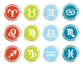 Horoscope zodiac signs, set of icons, vector illustration — Stock Vector