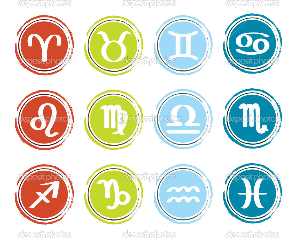 Horoscope zodiac signs, set of icons, vector illustration  Stock Vector #10081708