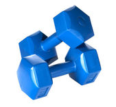 Blue dumbbells — 图库照片