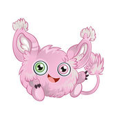 Pink fluffy little animal — Stock Vector