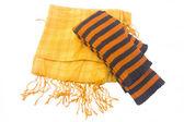 žlutý šátek a proužkované legíny — Stock fotografie