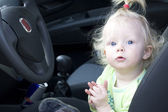 Baby girl driver — Stock Photo