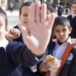 No Photo sign by Muslim schoolchildren — Stock Photo