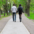 Stock Photo: Couple walking down the road in the park. From the back