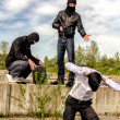 Two masked gunman trying to kill businessman. Asks a PIN — Stock Photo