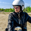 Motorcycle cop in a helmet and goggles — Stock Photo