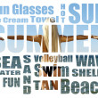 Conceptual collage of Summer words over picture. Isolated on white — Stock Photo