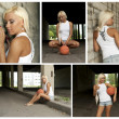 Basketball girl collage. Made of five photos. - Stockfoto