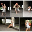 Street Basketball collage. Made of five photos. — Stock Photo