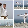 Karate fight collage. Made of six photos. — Stock Photo