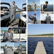Yacht dealer collage. Made of nine photos. — Foto de Stock