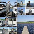 Yacht dealer collage. Made of nine photos. — Stock Photo