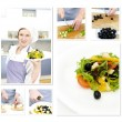 Royalty-Free Stock Photo: Preparation of a Greek salad collage. Made of six photos.