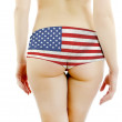 Beautiful female ass in USA panties. Isolated on white background. — Stock Photo